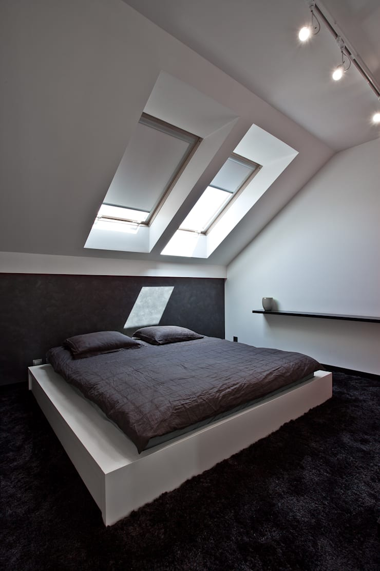 Aranżacja wnętrz domu jednorodzinnego, Gliwice: styl , w kategorii Sypialnia zaprojektowany przez modero architekci