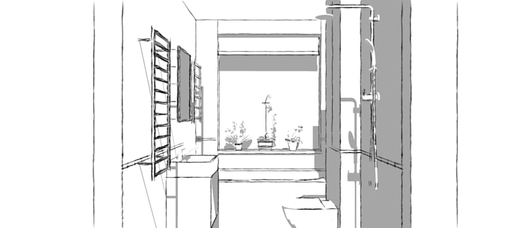 Sketches of the Bathroom Design:  Bathroom by Blue Cottini