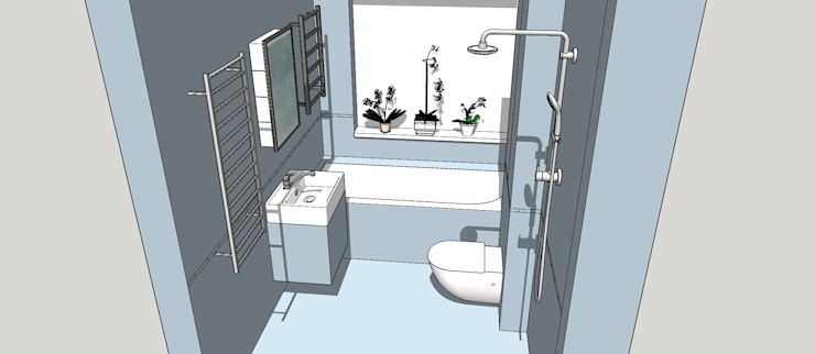 3D Model of the new Bathroom Configuration:  Bathroom by Blue Cottini