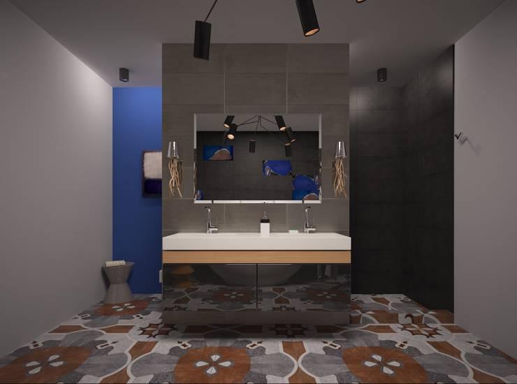 Ванная комната: охра и кобальт: Ванные комнаты в . Автор – PichuginaDesign