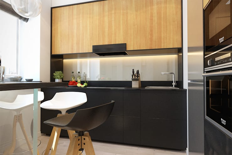 2-х комнатная квартира в Москве: Кухни в . Автор – Rustem Urazmetov, Минимализм