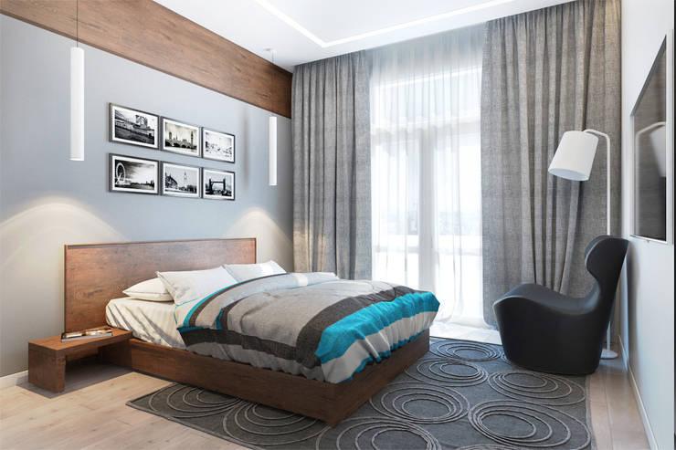 2-х комнатная квартира в Москве: Спальни в . Автор – Rustem Urazmetov, Минимализм