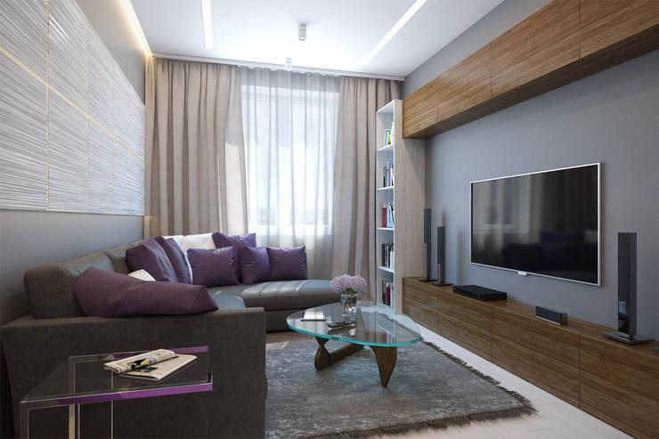 2-х комнатная квартира в Москве: Гостиная в . Автор – Rustem Urazmetov, Минимализм