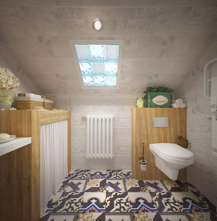Уютный дом в стиле прованс: Ванные комнаты в . Автор – Дизайн-бюро Анны Шаркуновой 'East-West'