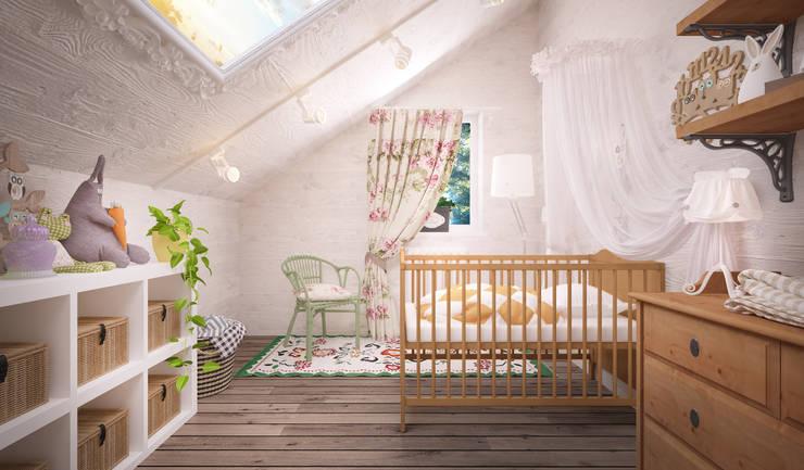 Recámaras infantiles de estilo  por Дизайн-бюро Анны Шаркуновой 'East-West'