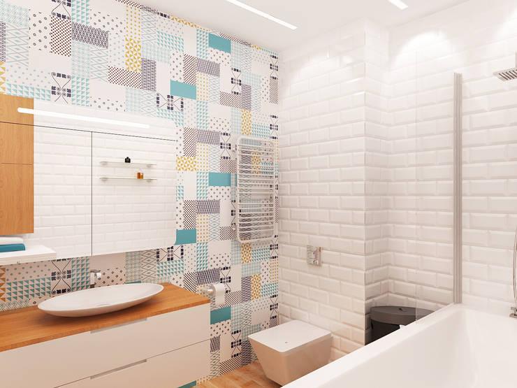 Квартира-студия в Москве: Ванные комнаты в . Автор – Rustem Urazmetov, Минимализм