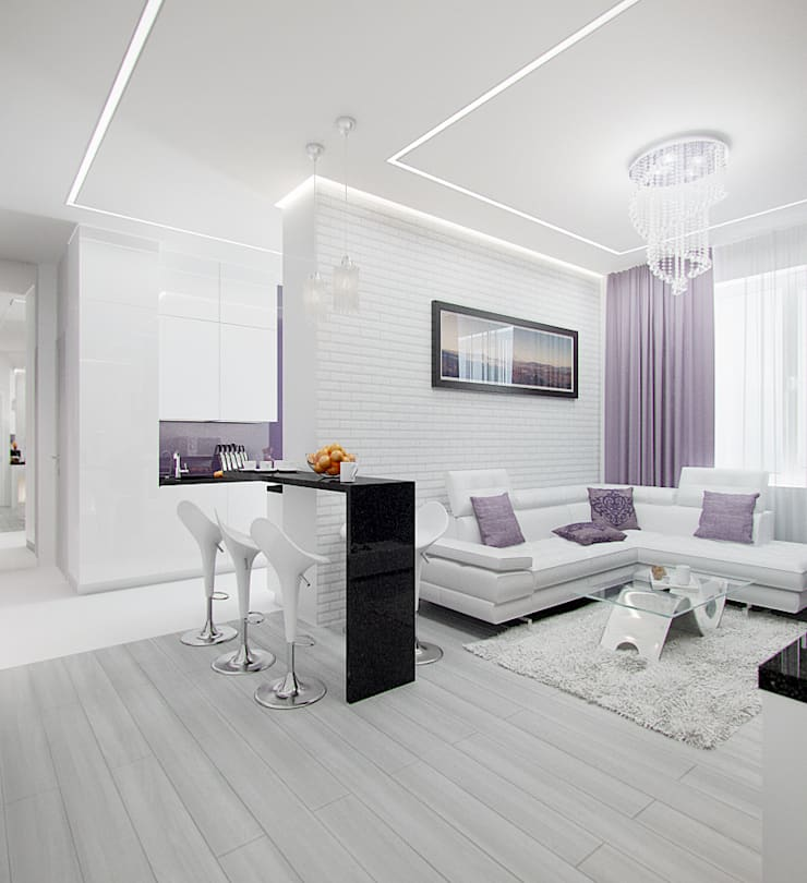 2-х комнатная квартира в Москве : Гостиная в . Автор – Rustem Urazmetov, Минимализм