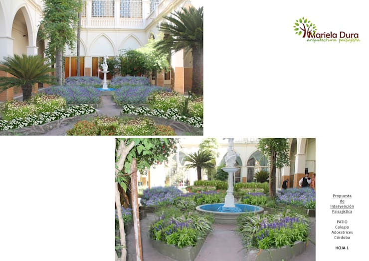 HOJA 1:  PATIO I - FUENTE: Jardines de estilo clásico por MARIELA DURA ARQUITECTURA PAISAJISTA