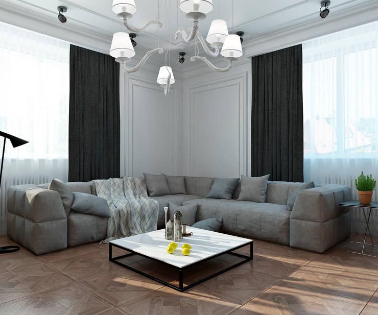 ห้องนั่งเล่น โดย Студия Антона Сухарева 'SUKHAREVDESIGN', ผสมผสาน
