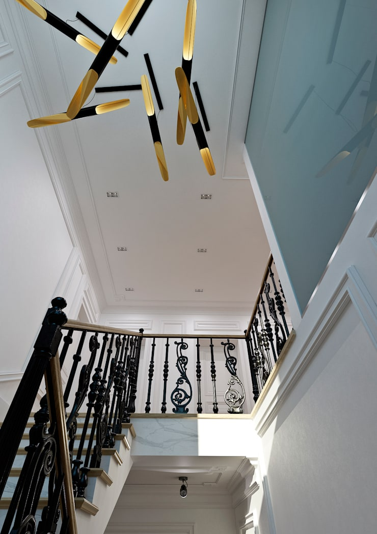 Yellow Accents Stair: Коридор и прихожая в . Автор – Студия Антона Сухарева 'SUKHAREVDESIGN'