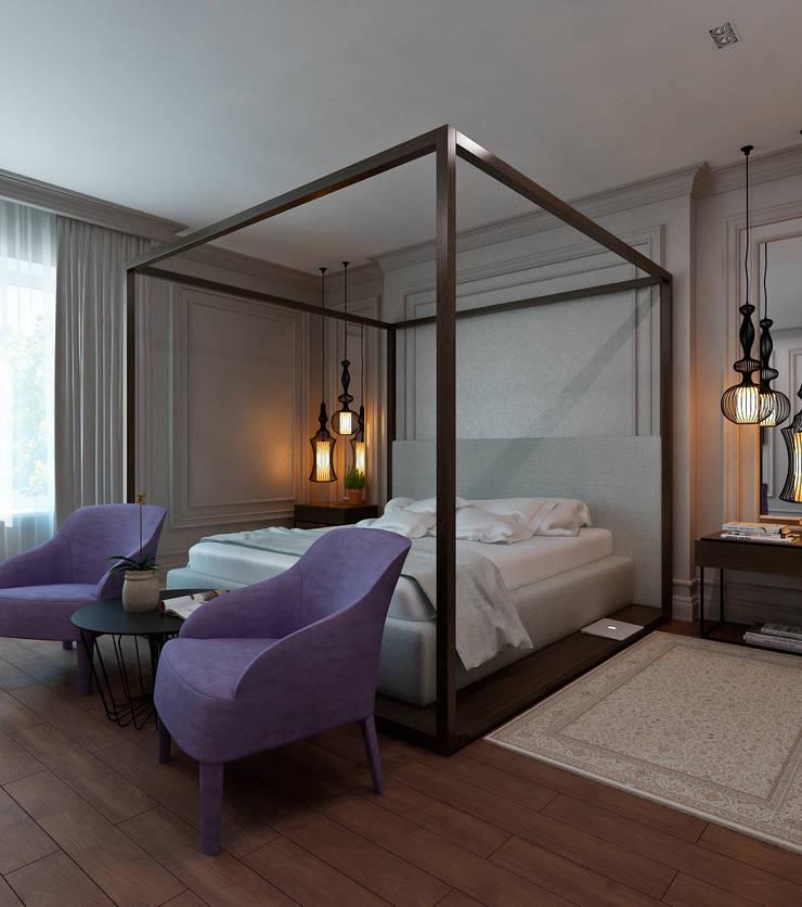 Master bedroom: Спальни в . Автор – Студия Антона Сухарева 'SUKHAREVDESIGN'