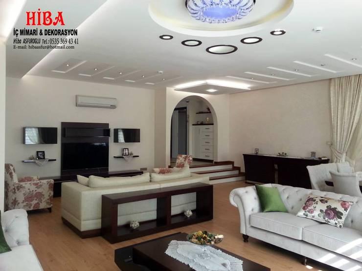 Hiba iç mimari ve dekorasyon – DR Sinem DR Olgun Karazincir Villası: modern tarz Oturma Odası