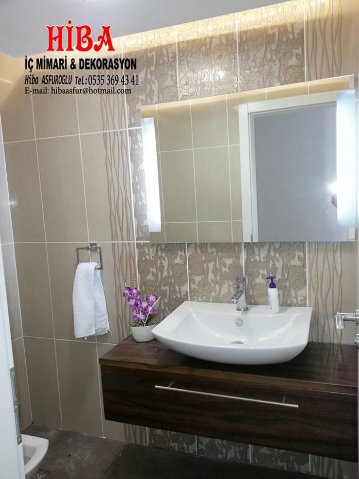 Hiba iç mimari ve dekorasyon – DR İlkay DR Musatafa Ödemiş Villası:  tarz Banyo