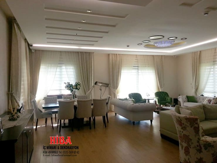 Hiba iç mimari ve dekorasyon – DR Sinem DR Olgun Karazincir Villası:  tarz Oturma Odası