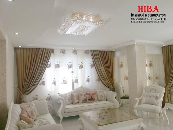 Hiba iç mimari ve dekorasyon – Helen Ali Cabiroglu Evi: modern tarz Oturma Odası