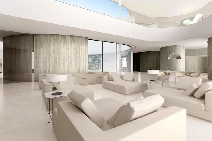 Dom minimalistyczny w okolicy Wrocławia: styl , w kategorii Salon zaprojektowany przez ASA Autorskie Studio Architektury