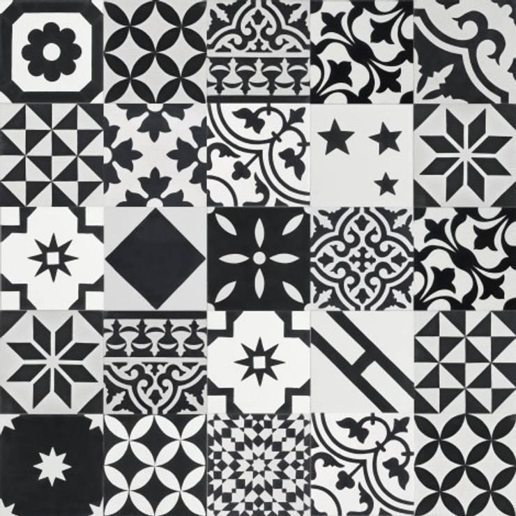 Płytki cementowe PATCHWORK BW: styl , w kategorii Ściany i podłogi zaprojektowany przez Rogiński Warsztat Artystyczny - DomRustykalny.pl