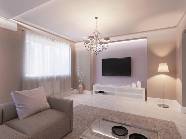 Современная квартира в Тюмени: визуализация: Гостиная в . Автор – OK Interior Design,