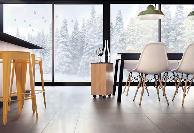 Kuchnia z jadalnią w zimowym anturażu: styl , w kategorii Jadalnia zaprojektowany przez Akuratnie
