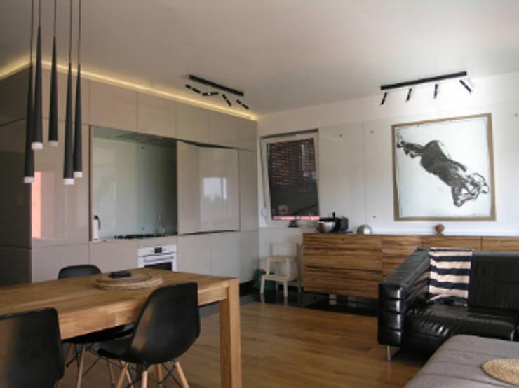 Salon z aneksem kuchennym: styl , w kategorii Salon zaprojektowany przez katarzynahabersack,Nowoczesny