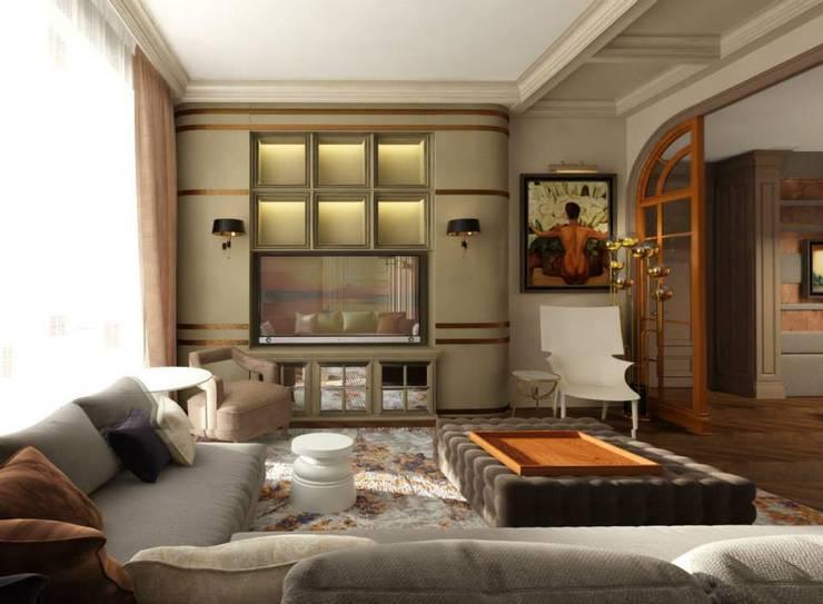 Квартира в ЖК «ЛИТЕРАТОР»: Гостиная в . Автор – KOSHKA INTERIORS