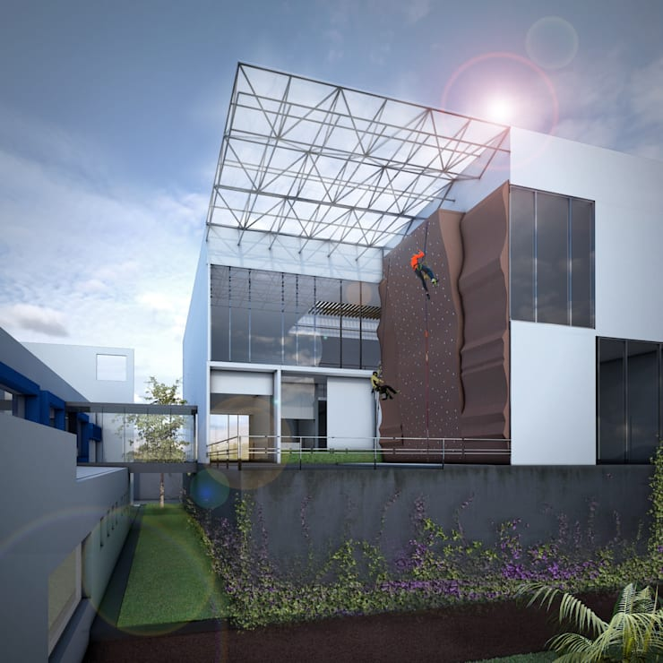 ANV LEÓN FACHADA: Gimnasios de estilo  por gOO Arquitectos