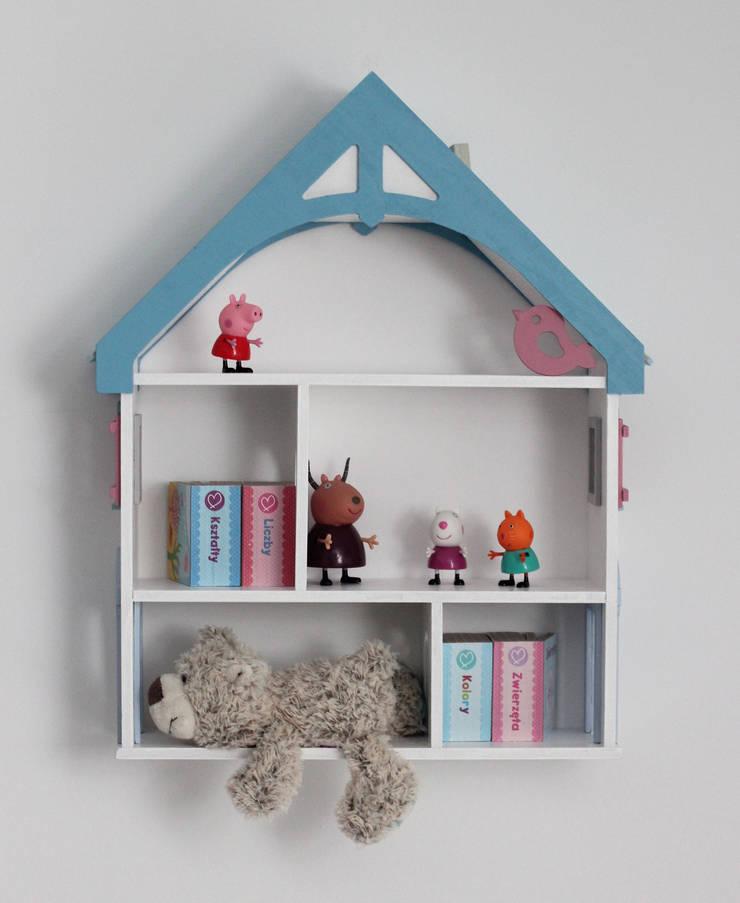 """Półka DOMEK DLA LALEK """"BLUE"""": styl , w kategorii Pokój dziecięcy zaprojektowany przez EBISSU ,"""