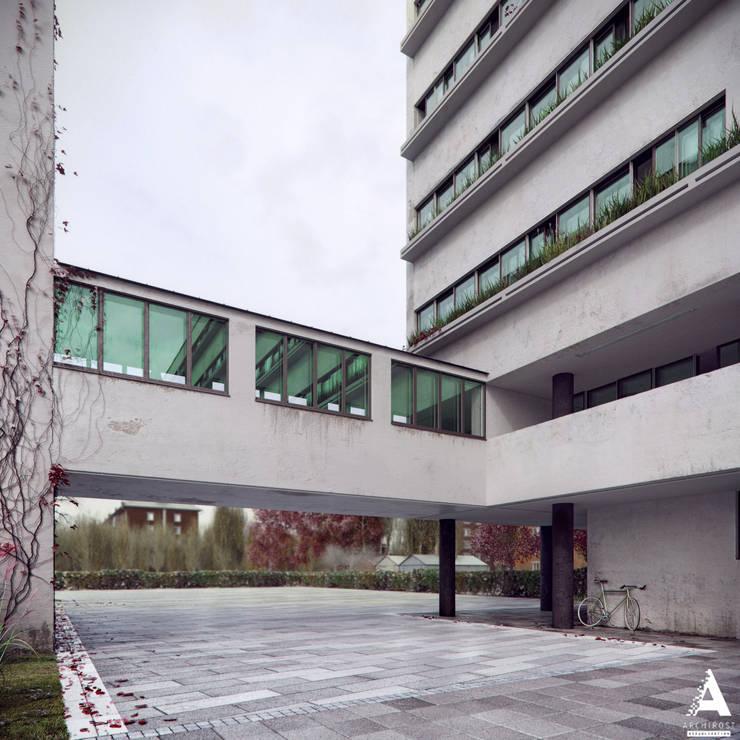 3D-реконструкция дома-коммуны Наркомфина: Дома в . Автор – Аrchirost,
