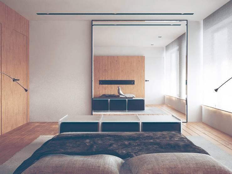 DOM W LUBLINIE: styl , w kategorii Sypialnia zaprojektowany przez Kunkiewicz Architekci ,Minimalistyczny