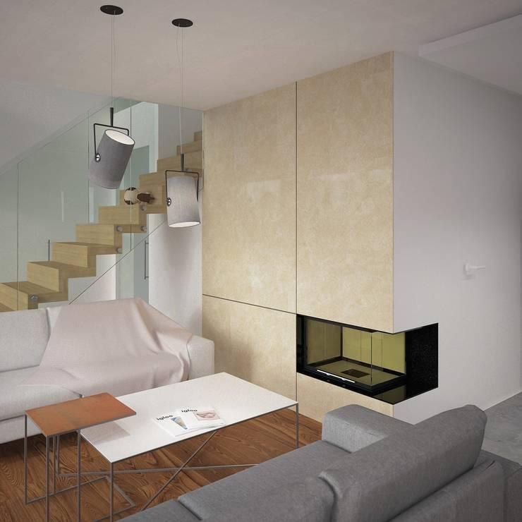 DOM W LUBLINIE: styl , w kategorii Salon zaprojektowany przez Kunkiewicz Architekci ,Minimalistyczny