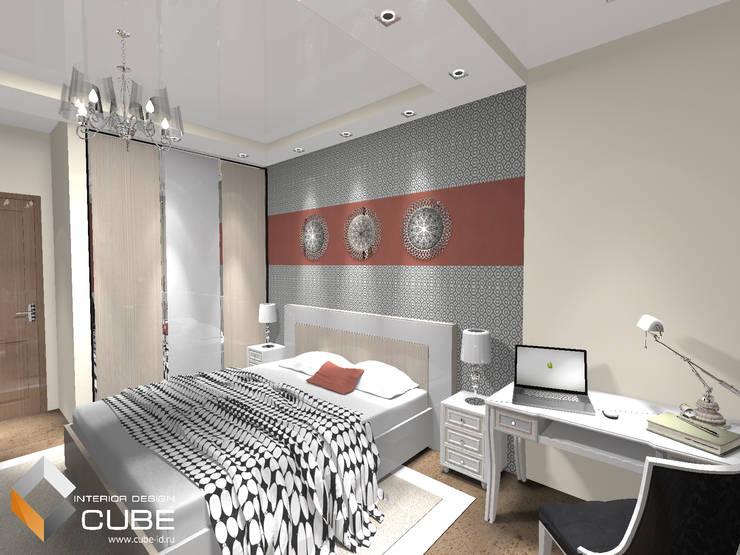 Дизайн квартиры в серо-бежевых тонах с винным акцентом: Спальни в . Автор – Лаборатория дизайна 'КУБ'