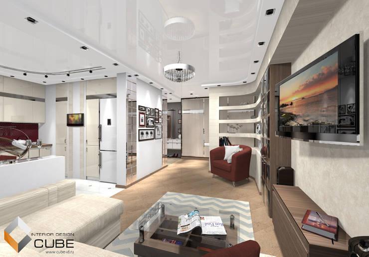 Дизайн квартиры в серо-бежевых тонах с винным акцентом: Гостиная в . Автор – Лаборатория дизайна 'КУБ'