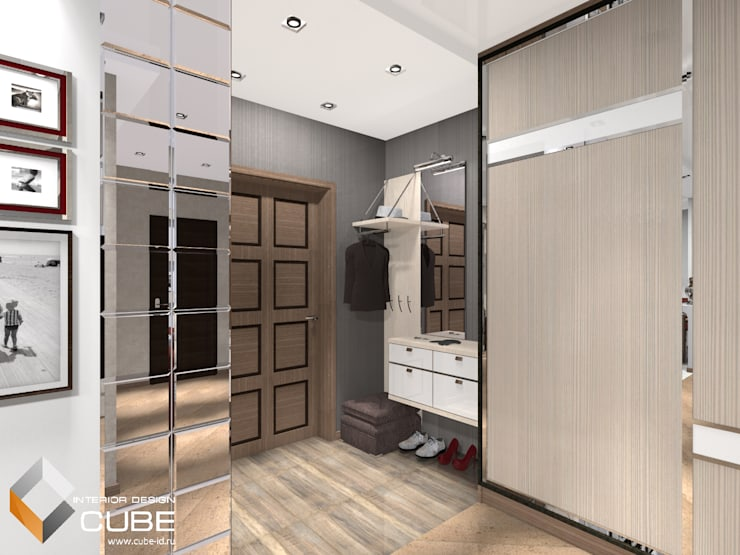 Дизайн квартиры в серо-бежевых тонах с винным акцентом: Коридор и прихожая в . Автор – Лаборатория дизайна 'КУБ'