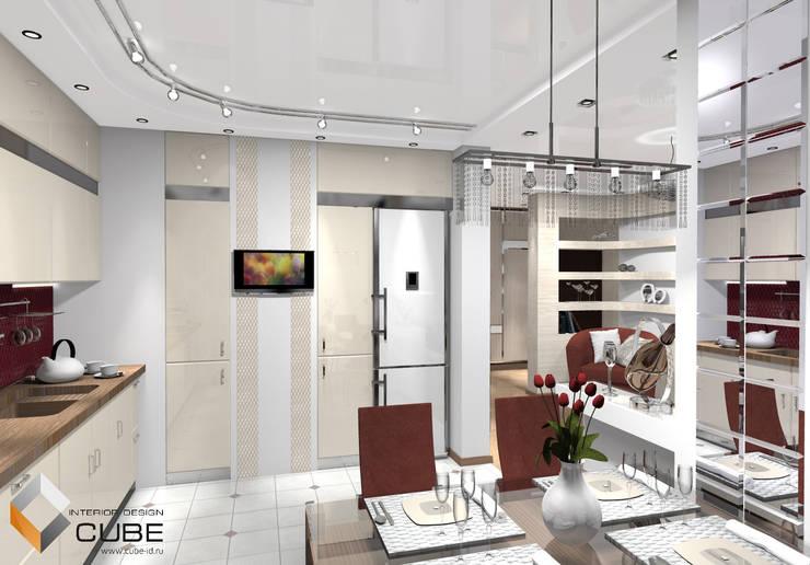 Дизайн квартиры в серо-бежевых тонах с винным акцентом: Кухни в . Автор – Лаборатория дизайна 'КУБ'