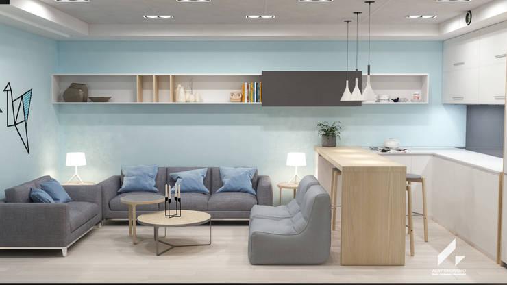 Zona de estar, barra y office: Salas multimedia de estilo  de AG INTERIORISMO