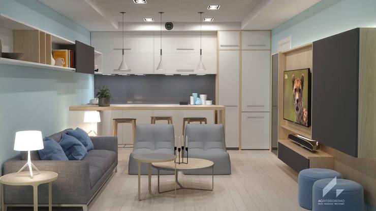 Zona de estar y barra: Salas multimedia de estilo  de AG INTERIORISMO