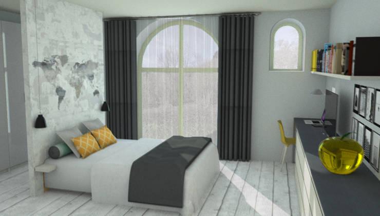 Chambre coté rue: Chambre de style de style Moderne par APMS architectes