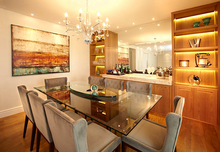 SALA DE JANTAR: Sala de jantar  por JULIANA MUCHON ARQUITETURA E INTERIORES