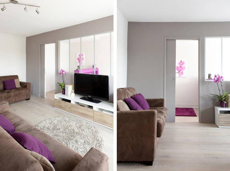 Rénovation d'un appartement à Fontaines sur Saone: Salon de style  par Marion Lanoë Architecte d'Intérieur