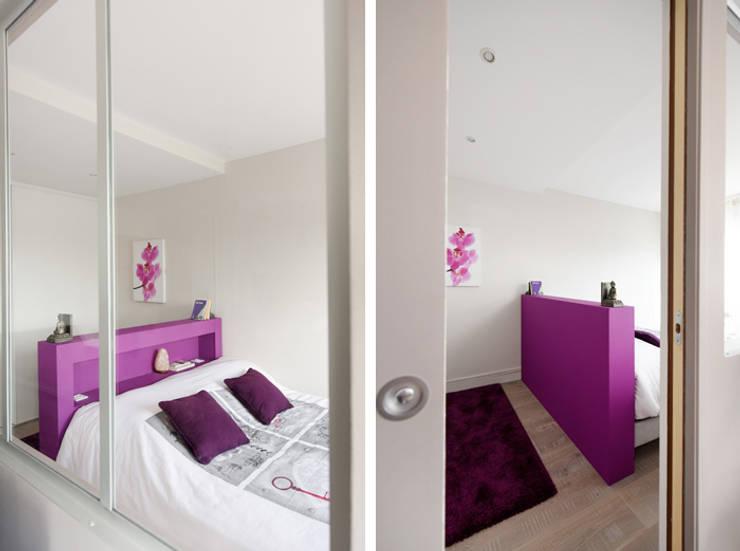 Rénovation d'un appartement à Fontaines sur Saone: Chambre de style  par Marion Lanoë Architecte d'Intérieur