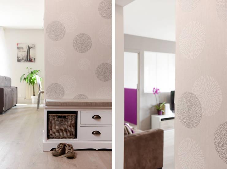 Rénovation d'un appartement à Fontaines sur Saone: Couloir et hall d'entrée de style  par Marion Lanoë Architecte d'Intérieur