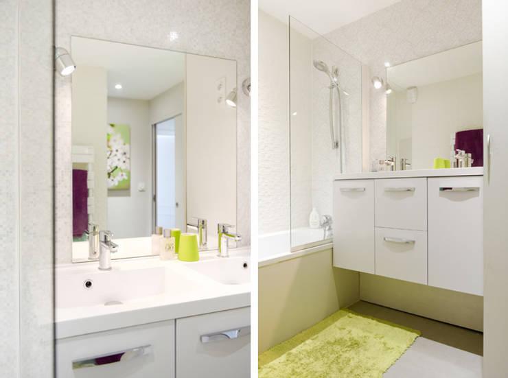 Rénovation d'un appartement à Fontaines sur Saone: Salle de bains de style  par Marion Lanoë Architecte d'Intérieur