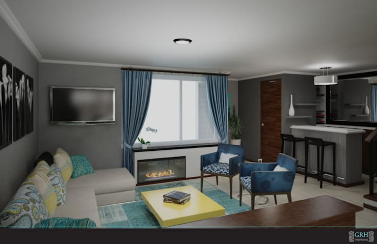 FAMILIA TGR: Salas de estilo  por GRH Interiores