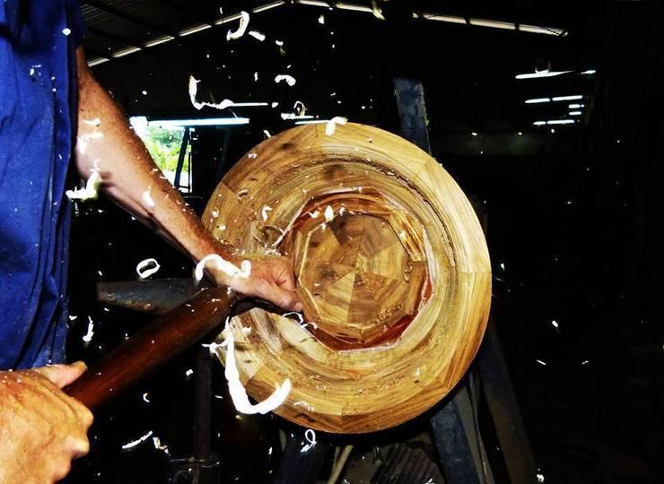 Umywalki z drewna - umywalka drewniana z dębu: styl , w kategorii  zaprojektowany przez Lux4home™