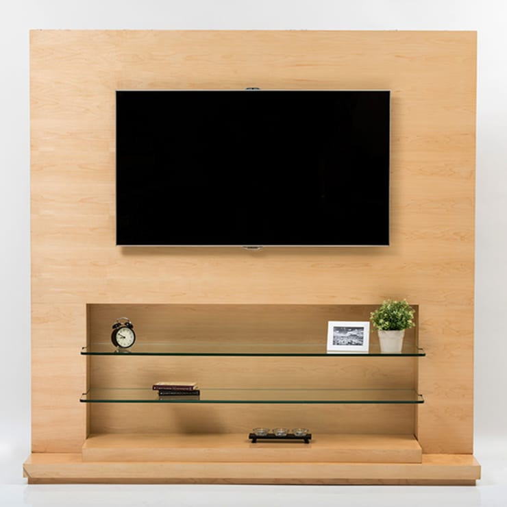 Mueble de TV en Maple : Sala multimedia de estilo  por MADERISTA