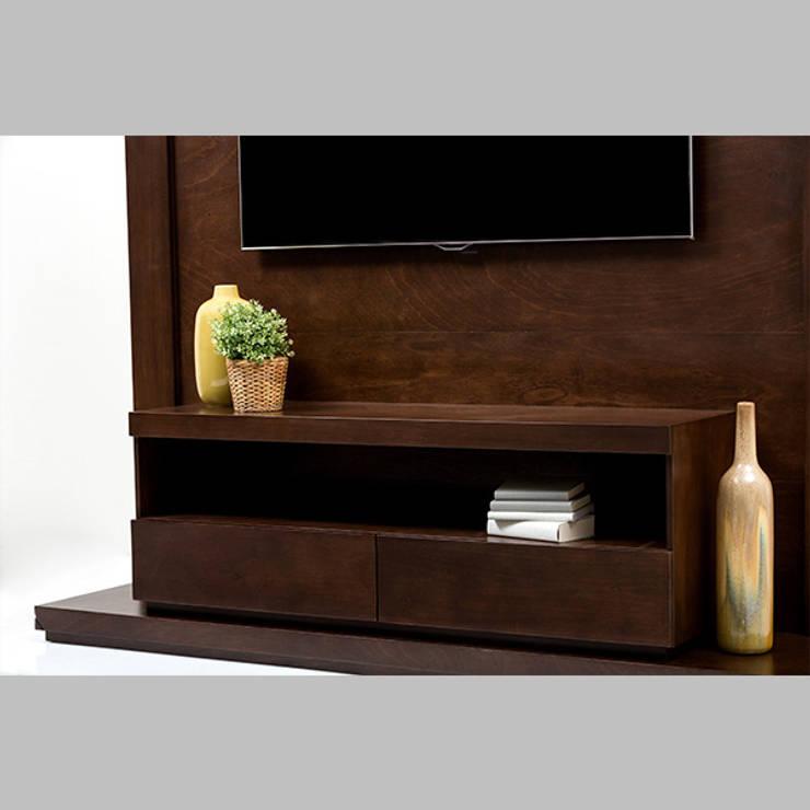 Mueble de TV enmarcado - acercamiento: Sala multimedia de estilo  por MADERISTA