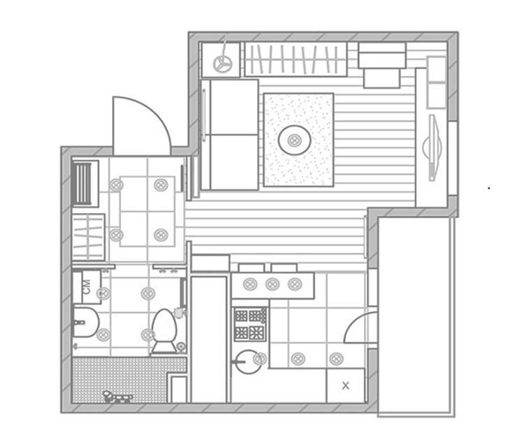 1-но комнатная квартира-студия 29.09m²:  в . Автор – PLANiUM