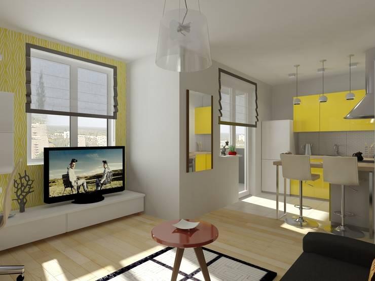 1-но комнатная квартира-студия 29.09m²: Гостиная в . Автор – PLANiUM
