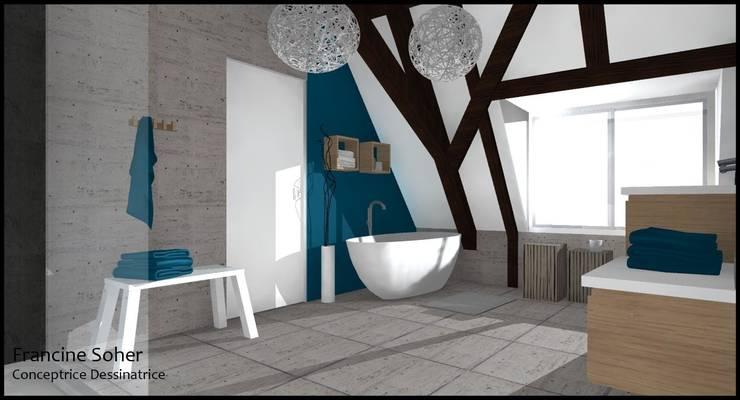 Maison de 207m²: Salle de bains de style  par Francine Soher