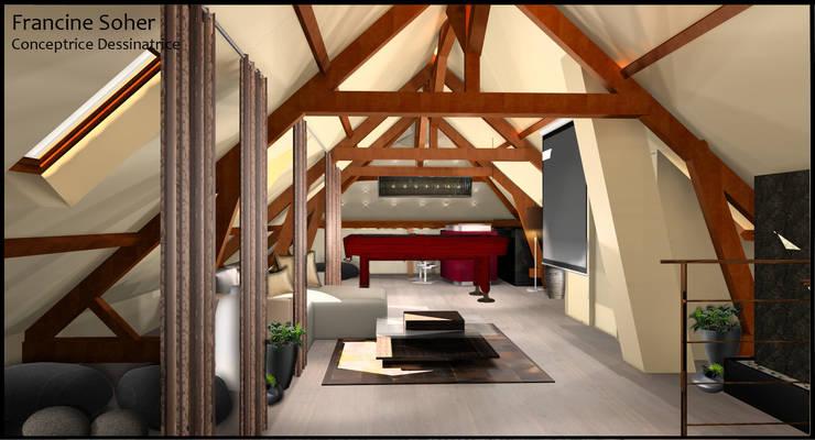 Aménagement de Comble: Salle multimédia de style  par Francine Soher